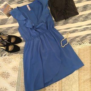 Love Notes Blue Faux Wrap Dress